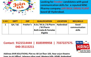 Urgent Openings for FRESHERS in QA / QC – API Bulk Drug Plant @ Hyderabad