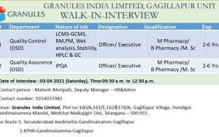 GRANULES INDIA LIMITED – Walk-In Interviews for Quality Control / Quality Assurance on 3rd Apr' 2021