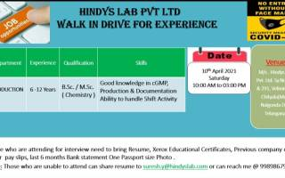 Hindys Lab Pvt. Ltd – Walk-In Interviews for Production on 10th Apr' 2021