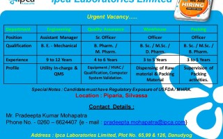 Ipca Laboratories Limited – Urgent Vacancy in Engineering / QA / Warehouse / Packing Departments