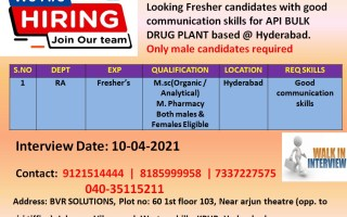 Walk-In Interviews for FRESHERS in Regulatory Affairs – API Bulk Drug Plant on 10th Apr' 2021 @ Hyderabad