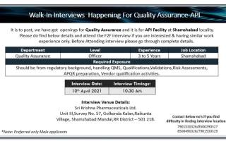 Sri Krishna Pharmaceuticals – Walk-In Interviews for Quality Assurance on 10th Apr' 2021