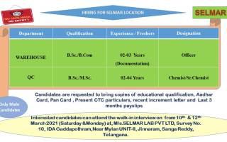Selmar Lab Pvt. Ltd – Walk-In Interviews for QC / Warehouse on 10th & 12th Apr' 2021