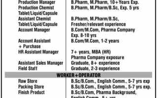 HOF Pharmaceuticals Ltd – Multiple Openings for QC / QA / Production / Accounts / Purchase / HR / Sales / Stores / Operators