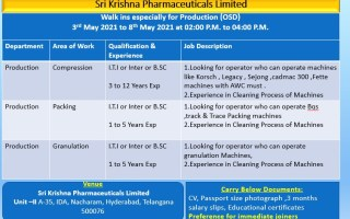Sri Krishna Pharmaceuticals Ltd – Walk-In Interviews on 5th to 8th May' 2021