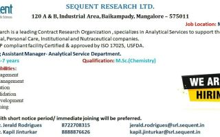 Sequent Research Ltd – Hiring for Analytical Service Department
