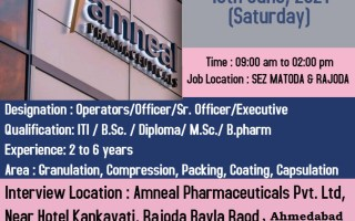 Amneal Pharmaceuticals – Walk-Ins for Multiple Positions in Manufacturing / QA / QC / Microbiology on 19th & 20th June' 2021