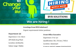 Urgently Required Experienced for QC – API Bulk Drugs / Freshers for Front Office Executive @ Hyderabad