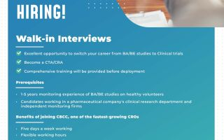 CBCC Global Research – Walk-In Interviews for CTA / CRA on 19th, 26th June & 3rd, 10th July 2021