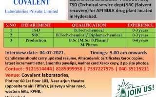 Walk-Ins for Freshers & Experienced in Production / TSD / Solvent Recovery Departments on 4th July' 2021 @ Covalent Laboratories Pvt. Ltd