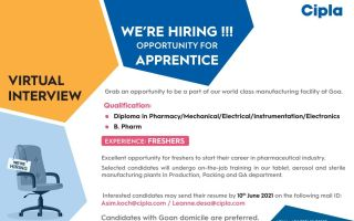 Cipla Ltd – Virtual Interviews for FRESHERS in Production, Packing, QA – Apply Now