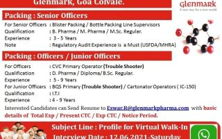 Glenmark Pharmaceuticals – Virtual Walk-In Interviews for B.Pharm / M.Pharm / M.Sc / D.Pharm / Diploma / B.Sc / ITI on 12th June' 2021