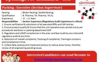Glenmark Pharmaceuticals – Urgent Openings for Packing Department