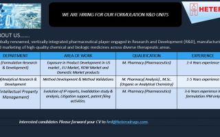 Hetero Labs Limited – Urgent Openings for FRD / ARD / IPM Departments – Apply Now