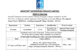 Moistop® Enterprises Pvt. Ltd – Walk-In Interviews for Accounts on 7th to 9th June' 2021