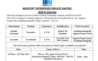 Moistop® Enterprises Pvt. Ltd – Walk-In Interviews for Quality Assurance / Accounts on 30th June to 2nd July' 2021
