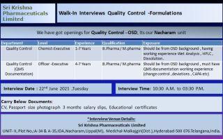 Sri Krishna Pharma – Walk-In Interviews for Quality Control – OSD on 22nd June' 2021