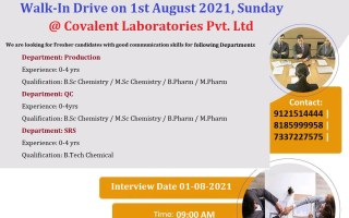 Covalent Laboratories Pvt. Ltd – Walk-In Drive for Freshers & Experienced in Production / QC / SRS on 1st August' 2021