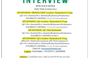 Daily Walk-In Interviews for Freshers & Experienced in Production / QC / QA – Hyderabad & Vizag Locations | Apply Now