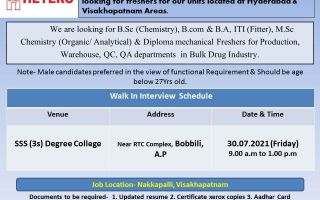 HETERO LABS LIMITED – Walk-In Interviews for Freshers in Production / QC / QA / Maintenance / Warehouse on 30th July' 2021