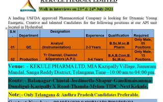 KEKULE PHARMA LTD – Walk-In Interviews for Freshers & Experienced in QC / Production on 23rd & 24th July-2021