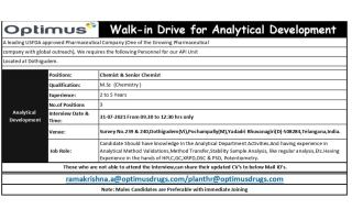 Optimus Drugs – Walk-In Drive for Analytical Development on 31st July' 2021