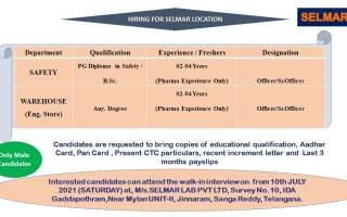Selmar Lab Pvt. Ltd – Walk-In Interviews for Warehouse / Safety on 10th July' 2021