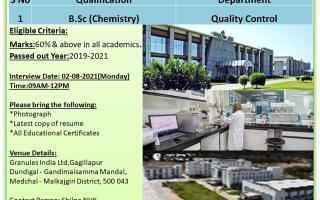 Granules India Limited – Walk-Ins for FRESHERS – Quality Control on 2nd Aug' 2021