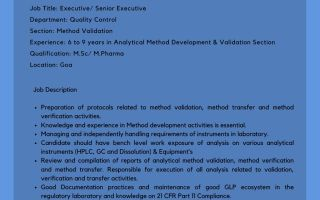 Encube Ethicals – Hiring for Quality Control / Quality Assurance
