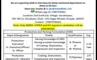 Ind-Swift Ltd – Walk-Ins for Multiple Positions in Production / Packing on 12th Sep' 2021