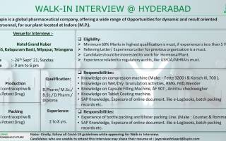 Lupin Limited – Walk-In Interviews on 26th Sep' 2021 @ HYDERABAD