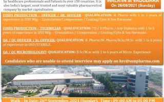 SUN PHARMA LTD – Walk-Ins for Multiple Positions in Production / QA / QC / QC-Micro on 26th Sep' 2021