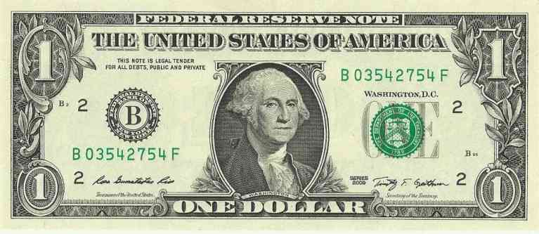 US one dollar bill2C obverse2C series 2009