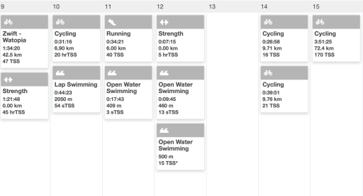 A calendar full of workouts completed by an athlete
