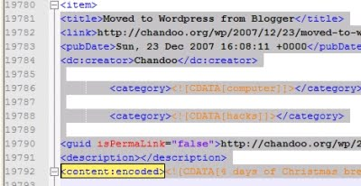 Wordpress XML export file structure