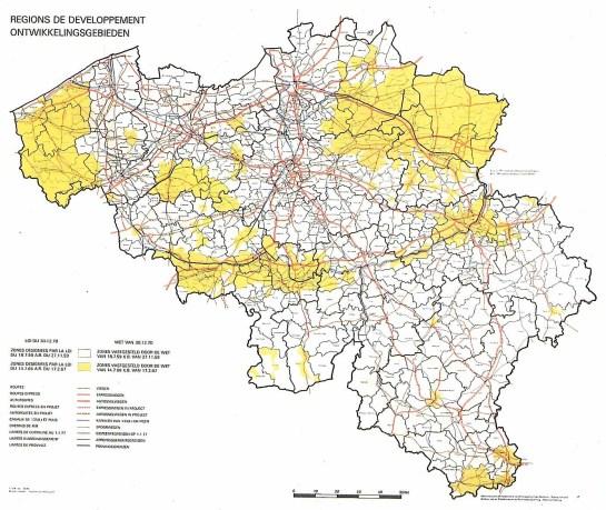 Zones (en jaune) fixées par la loi d'expansion économique du 14 juillet 1966 (AR du 17 février 1967)Coll. SNCI (L'Industrie en Belgique, Deux siècles d'évolution, p. 160, Bruxelles, SNCI-Crédit communal, 1981.