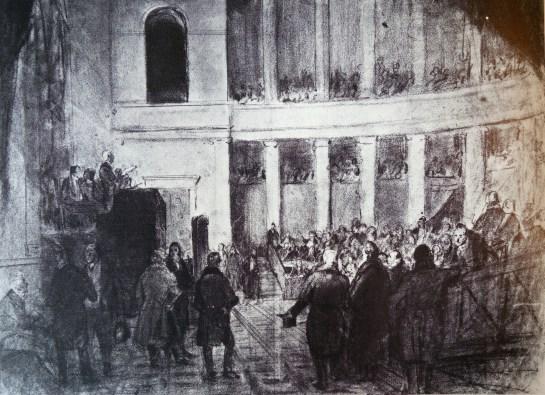 Séance du Congrès national - Gouache de Jean-Baptiste Madou (1796-1877) Bruxelles MRBA