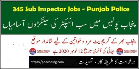 PPSC sub inspector jobs 2020