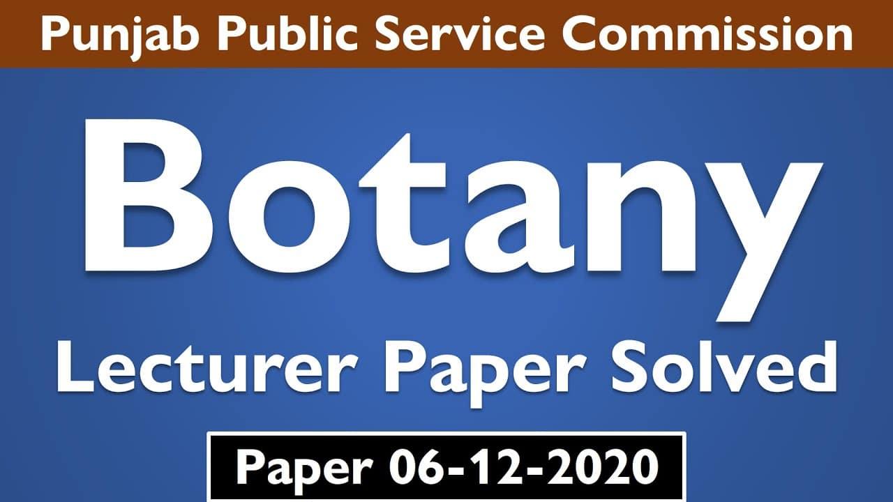 PPSC Lecturer Botany Past Paper