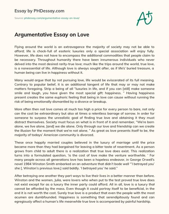 Argumentative Essay on Love - PHDessay.com
