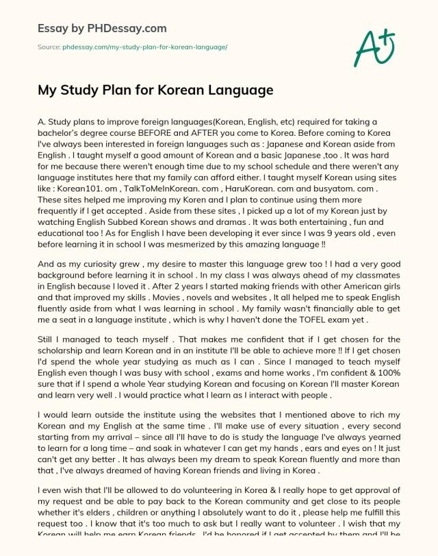 My Study Plan for Korean Language - PHDessay.com