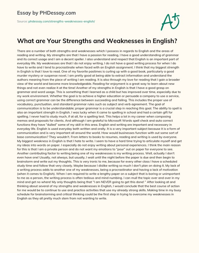 What are Your Strengths and Weaknesses in English? - PHDessay.com