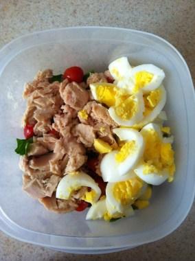 Add the tuna and the eggs.