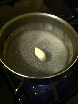 Boil your water and vinegar with some salt and a garlic clove.