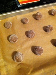 """Roll the dough into 1"""" balls and coat them in the gingered sugar"""