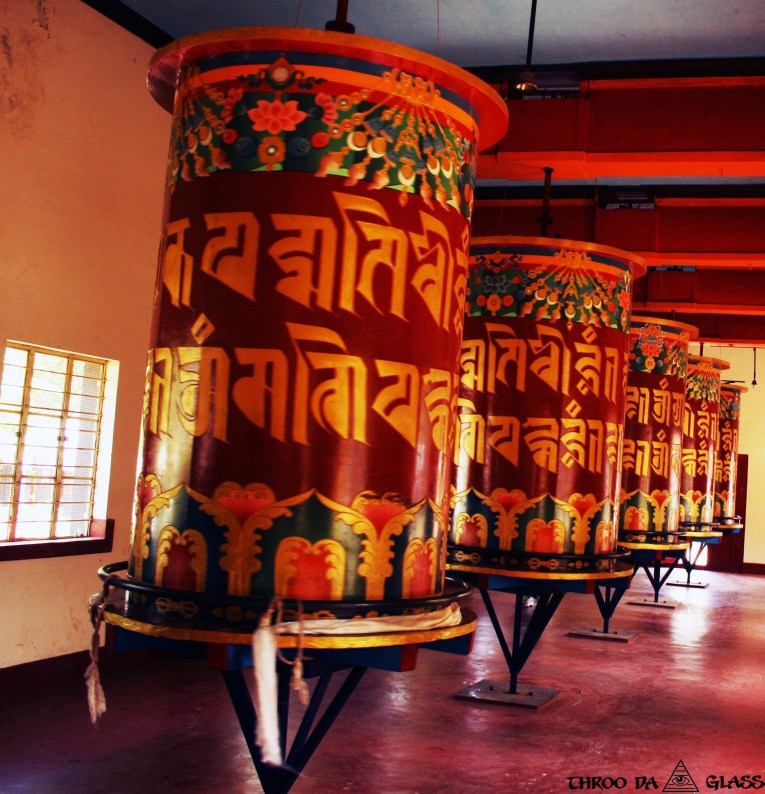 G,giant prayer wheels,monastery, golden temple, wednesday,abc,wordless,praveen,karnataka,bangalore,throo da looking glass