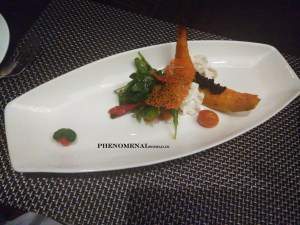 fried pumpkin withgoat cheese foam salad with balsamic caviar and cherry tomato confit
