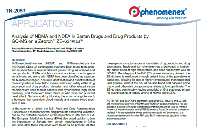 Our technical application focuses on the analysis of NDMA and NDEA in Sartan Drugs and Drug Products by GC-MS