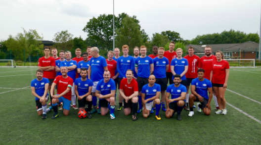 Phenomenex UK team supporting WaterAid through a game of football/soccer