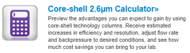 core-shell calculator chromatography web tools